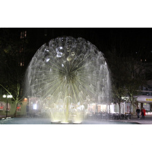 stainless steel dandlion sphere fountain sculpture with LED light
