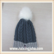 Girl Knit Hat With Fur Ball