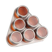 Cremalheira de especiarias magnética de aço inoxidável de forma de triângulo