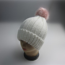 Wholesale Pink Pompom Rib Knit Toque