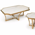 Elegant home furniture white marble coffee table stainless steel side table