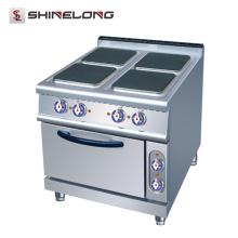 Equipamento de cozinha comercial elétrico 4 fogão a quente com forno