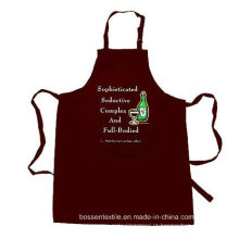 OEM Produce Custom Made Promocionais Cotton Brown Customized Logo impresso Cozinhar Bib Avental