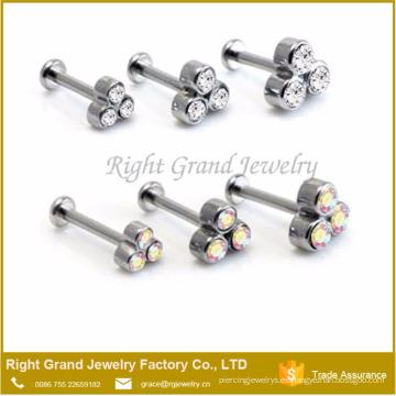 Moda Triple cristal internamente Rosca Rod Labret Helix Piercing personalizada Labio Anillos