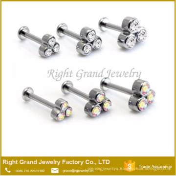Fashion Triple Crystal Internally Threaded Rod Labret Helix Piercing Custom Lip Rings