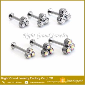 Moda Triplo Cristal Rosca Internamente Rod Labret Helix Piercing Anéis De Lábios Personalizados