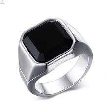 Fashion Edelstahl Finger Big Stone Silber Plain Ringe