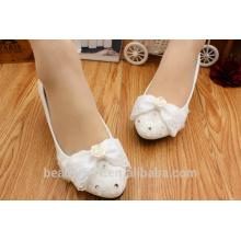 Pajarita de agua de encaje de taladro de zapatos de novia y zapatos con tacones bajos y zapatos de foto WS020