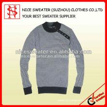 Fashion crew neck stripe pullover sweater men