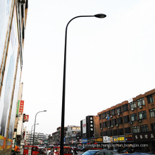 Factory direct supply black curved hot dip galvanized single arm steel light pole with customized height
