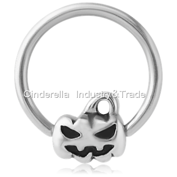 Steel Ball Closure Ring with Halloween Pumpkin