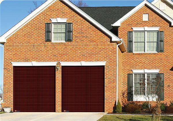 Wood grain color garage shutter door