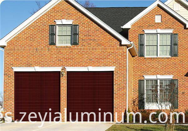 Wood grain color garage shutter door