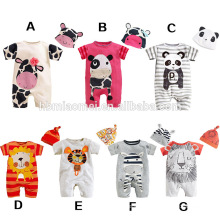 2016 new design factory direct supply cow printed soft cotton 2pcs set baby girl romper wholesale