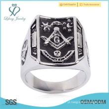Mens Masonic Ring Square G & Pilares Mestre Grau Mason Rare Jóias