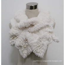 Lady Fashion Polyester Faux Fur Lace Scarf (YKY4365A-4)