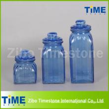 Square Shape Spray Color Glass Jar Set