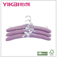 Set of 3pcs micro-suede fabric padded hangers with ribbon bow