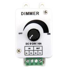 Venda quente DC9-24V 16A PWM Rotary Knob Controlador Dimmer para Single Color LED Strip, luzes LED