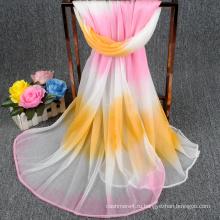 2017 новый дизайн фабрика сразу продажи градиент цвета мода пользовательские шифон квадратный шарф