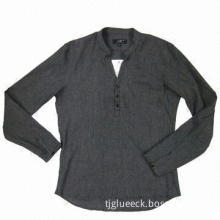 Men's cotton long-sleeved casual shirt, small collar stand, relax fitting