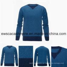 Suéter de cachemir puro de manga larga con cuello alto de manga larga para hombres con diseño de triángulo