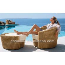 Popular Patio Waterproof black rattan furniture big round chair + ottoman