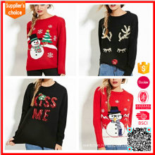 Knitted pullover wholesale ugly custom christmas sweater with patterns