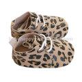 Gold Leather Leopard Design Baby Walker Shoes Toddler Girls Boys Soft Sole First Walker