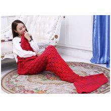 Gestrickte Meerjungfrau-Schwanz-Decke erwachsene gestrickte Sofa-Bett-Wurfs-Decken Meerjungfrau-Schlafsack