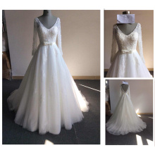 Bridal Lace Bodice Deep V-Neck Open Back Beadings Long Sleeves A-Line Bow Waist Illusion Cheap Wedding Dress Made in China Y13-2