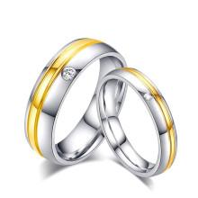 Precio de fábrica el último anillo de compromiso de la pareja del diamante de la forma CZ, conjunto del anillo de bodas del oro de la piedra preciosa de la Arabia Saudita