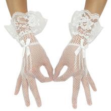Grace Karin Sexy Bow-Knoten dekoriert Mesh Braut Hochzeitsfeier White Lace Handschuhe CL010606-2