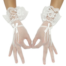 Grace Karin Sexy Bow-Knot Decorated Mesh Bridal Wedding Party White Lace Gloves CL010606-2
