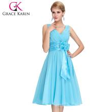 Grace Karin New Fashion Deep V-Neck Short Chiffon Dress Bridesmaid Dress CL6015-1#