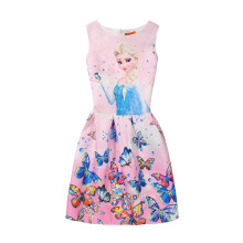 2017 Summer Latest Children Clothes Dress Floral Printed Girl Frocks Design