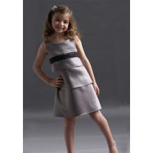 A-line Round Neck Knee-length Satin Layers Flower Girl Dress