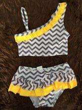 2015 Baby girls swim suit chevron swim suit girls swimming suit chevron swimming suit grey chevron yellow