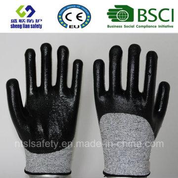 Guante de trabajo de seguridad resistente al corte con guantes de seguridad recubiertos de nitrilo 3/4