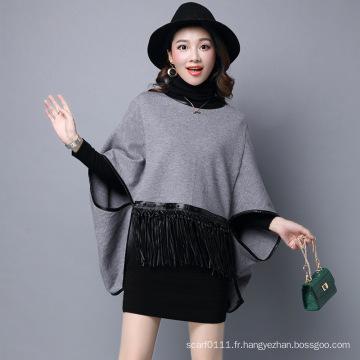Lady Fashion Viscose nylon tricoté frange en cuir Poncho (YKY2066)
