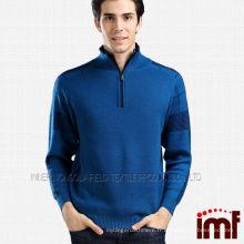 Fashion Men Blue Stand Collar Mongolian Cashmere Sweater