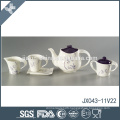 Heat resistant wholesale good quality flower decal ceramic purple tea set