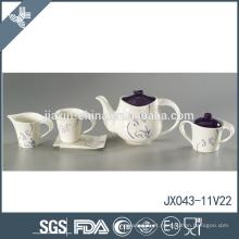 Resistente ao calor atacado de boa qualidade flor decalque de cerâmica chá roxo set