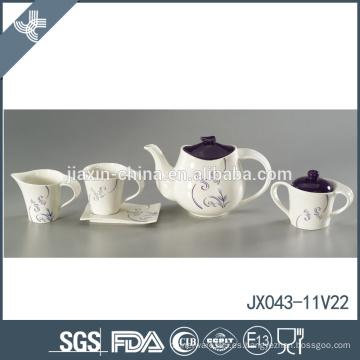 Calor resistente a la venta al por mayor de buena calidad de la flor de cerámica púrpura té conjunto