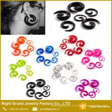 Jóia acrílica roxa personalizada da espiral da orelha da forma por atacado para o casamento