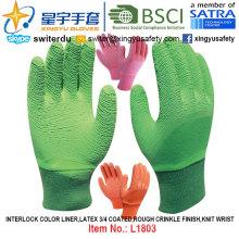 Линейный лайнер Interlock, латексные перчатки 3/4 с покрытием (L1803), шероховатая отделка морщин, запястье для запястья с CE, En388, En420, рабочие перчатки