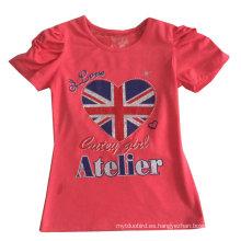 Camiseta de la muchacha de la bandera de Reino Unido de la manera en la ropa de los niños Ropa con la impresión Sgt-072