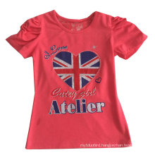 Fashion UK Flag Letter Girl T-Shirt in Children Clothes Apparel with Print Sgt-072