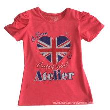 Moda bandeira do Reino Unido carta menina t-shirt em roupas infantis vestuário com impressão Sgt-072