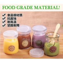 Food Grade 40ml 100ml Pudding Glasflasche Mini Milchflasche mit Cork oder Cap